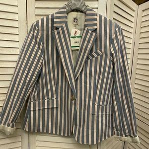 ANNE KLEIN Bold Stripe BlazerJacket Blue and Red